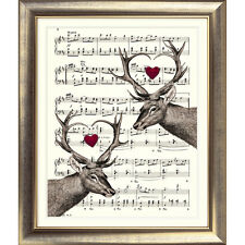ART PRINT ORIGINAL VINTAGE MUSIC SHEET Page STAGS HEARTS love deer Shabby Chic