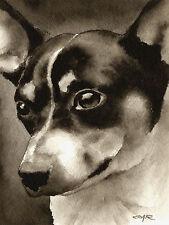 Rat Terrier Art Print Sepia Watercolor Painting by Artist Djr