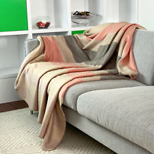 "SOFT & WARM ALPACA LLAMA WOOL BLANKET THROW ECRU CORAL QUEEN 100""x67"""