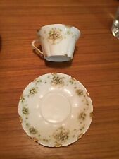 Limoges Tea Cup and Saucer green/ gold/ flowers