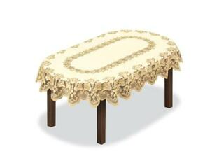 """Oval lace CREAM/DARK GOLD Tablecloth floral 120x160cm (47""""x63"""")perfect Xmas gift"""