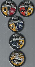 Boston Bruins Stanley Cup Champions Road to Victory 5-Souvenir Hockey Pucks