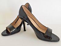 Fiore Black Patent Peep Toe High Heeled Shoe Size 3