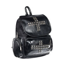 Blue Banana  Studded X Cross Black Backpack, Ladies Gothic Faux Leather Rucksack
