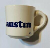 VINTAGE 70's Austin Mug 1977 Texas Off White Ceramic w/ Blue Font Coffee Tea Cup