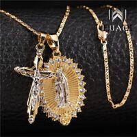Religous Christian INRI Crucifix Jesus Virgin Mary Pendant Necklace Unisex Gifts