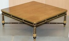 MONUMENTAL LOUIS XVI STYLE MAHOGANY & PARCEL GILT WOOD COFFEE OR COCKTAIL TABLE