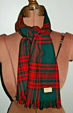 """AS IS 51"""" X 11.5"""" Red Green Plaid JAEGER London WOOL Great Britain FRINGE SCARF"""