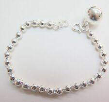 Pure S999 Sterling Silver Men Women Smooth Ball Link Chain Bracelet/7.5 inches