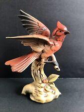 Lovely Vintage Pottery Figurine E-1581 Bird Cardinal On Tree Branch