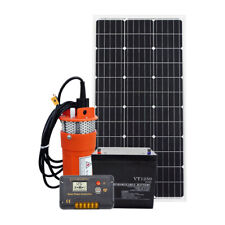 12V Deep Well Water Pump +100W Solar Panel& Controller &Sealed Lead Acid Battery
