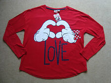 Official DISNEY Womens Lounge Top Size M 10-12 BNWT Red Minnie Mickey Mouse Love