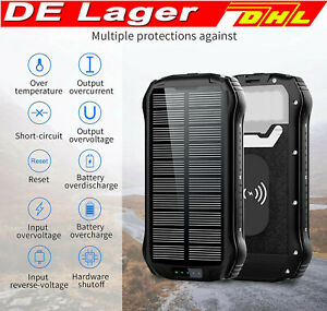 26800mAh Wasserdicht Tragbare Externe Solar PowerBank 2USB Ladegerät für Handys