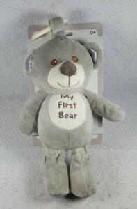 "Kelly Baby Toy 10"" My First Bear Pram Toy Grey Gray w/ Rattle - Free Shipping!"