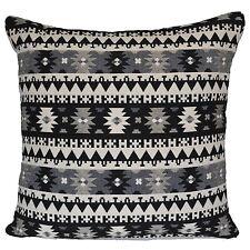 """aztèque Diamant Coussin rempli noir gris crème grand Géométrique 60cm 24 """" coton"""