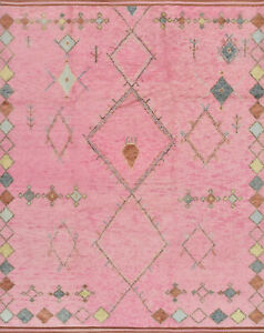 Moroccan Beni Ourain Rug 8'x10' Pink Tribal Wool Hand-Knotted Area Carpet