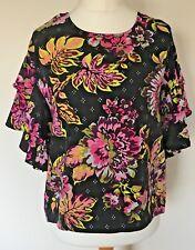 per Una Size 12 Ladies Black Top With Multi Floral Print & Sequins