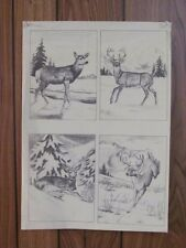 """Tri-Chem Liquid Embroidery Picture to Paint - """"Set of Four Deer"""" (#0486)"""