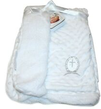 Blankets and Beyond Christening Gift Blanket, White with Silver Cross Applique