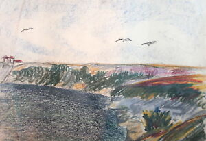 Vintage landscape seascape pastel drawing
