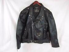 LEATHER KING Men's Black Leather Motorcycle Biker Jacket-56