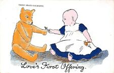 POSTCARD  CHILDREN   TEDDY   BEAR  Related   Courtship   Love's  First  Offering