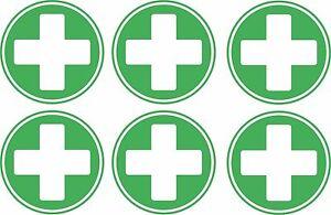 set of 6x first aid cross sticker vinyl health box decal self adhesive