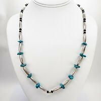 Native American Turquoise Nugget Necklace with Sterling  Silver Onyx Beads 23 In
