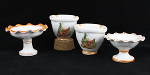 Set 4 Miniatures Porcelain Houses Of Dolls Kitchen Mortar Frutero. Years 70