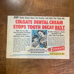 VINTAGE 1950 'COLGATE RIBBON TOOTHPASTE' KITCHENALIA MAGAZINE ADVERTISEMENT