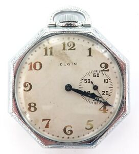 RARE RIGHT SIDE SECONDS DIAL / 1905 ELGIN 12S 7J OCTAGONAL SHAPED POCKET WATCH.