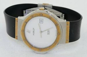 Hublot MDM SS/18K gold quartz men's watch w/ date & fancy textured white dial