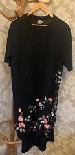 Asos Dress. T Shirt Dress. Hi Low. Black. Embrodery. Size 12