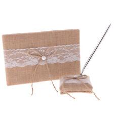 Rustic Burlap Bow Lace Guest Book Pen Holder Set Wedding Party Reception