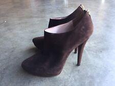 Miu Miu Brown Suede Ankle Booties Heels sz 40 10