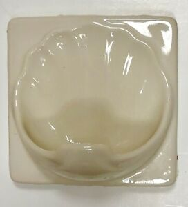 Ceramic Shell Bath-Shower Soap Holder with Drain hole Glossy Biscuit - Used