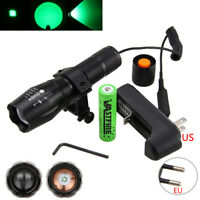 GREEN Q5 LED Zoomable 5000Lm Hunting Flashlight Light Torch Gun Mount 18650 CH