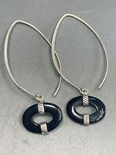 Signed Silpada Sterling Silver 925 drop dangle Black Onyx Hook Pierced Earrings