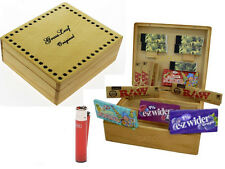 Grassleaf Large Wooden Rolling Cigarette Box Raw King Size, Roaches Lighter NEW