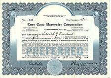 1923, Luce Cane Harvester Corp Stock Certificate