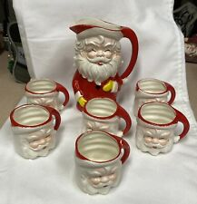 Vintage Mid Century Santa Pitcher 6 Cups Set In Box Japan Christmas Decor