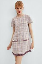 ZARA | Womens Fringed Tweed Dress  [ Size  S or AU 10 or US 6 ]