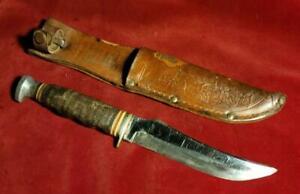 Vintage Kabar Hunting Skinning Knife with original Sheath Stacked Leather Handle