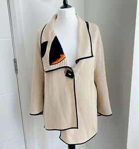 Tivoli Beige Cardigan Coatagan Jacket Size XL UK 18 20 Asymmetrical Knit Boho