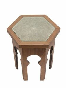 GUELIZ Wooden Side Table with Glass - by Moroccan Bazaar