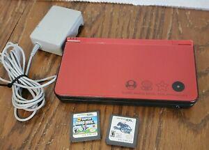 Nintendo DSi XL Super Mario Bros. 25th Anniversary Edition Console Red + 2 Games
