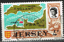 Jersey Island detailed map old stamp 1965