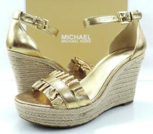 Michael Kors Bella Wedge Espadrille Sandals Metallic Leather Pale Gold Size 9.5