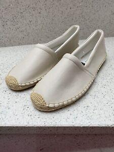 NEW NEXT UK 7 Slip-On Espadrille Flat Shoes Faux Leather Cream Ecru