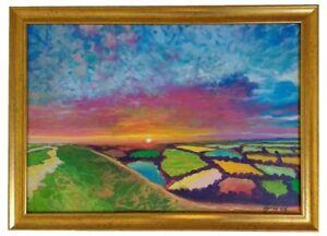 Patchwork Fields Original Painting on Canvas Framed Landscape Sky Vibrant Colour